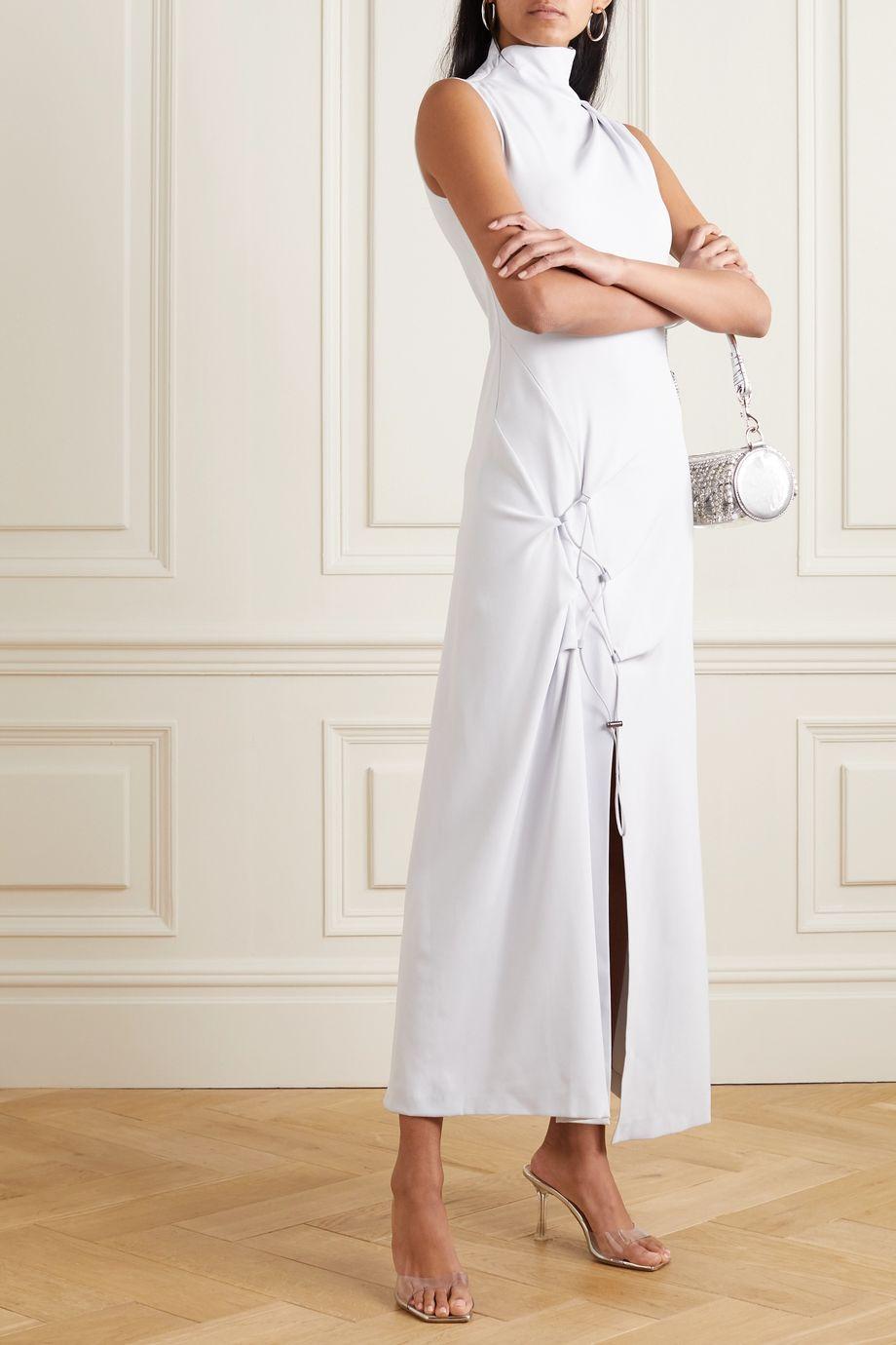 Off-White Drawstring-embellished crepe midi dress