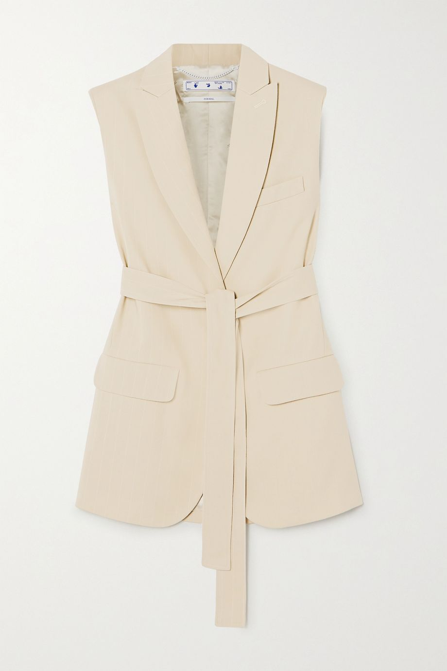 Off-White Belted pinstriped cotton-blend vest