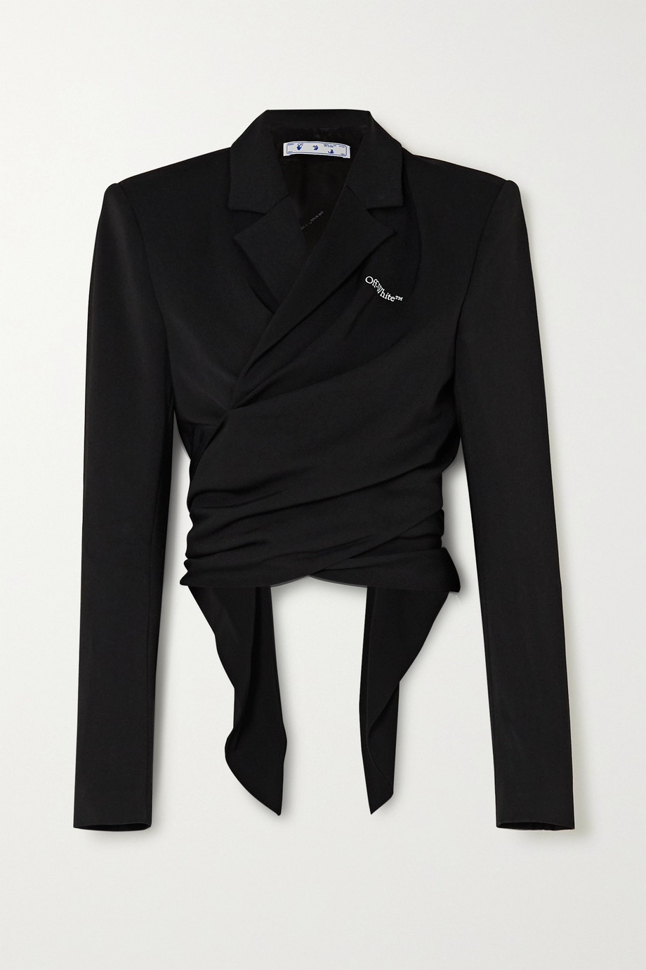 Off-White Draped embroidered gabardine wrap jacket