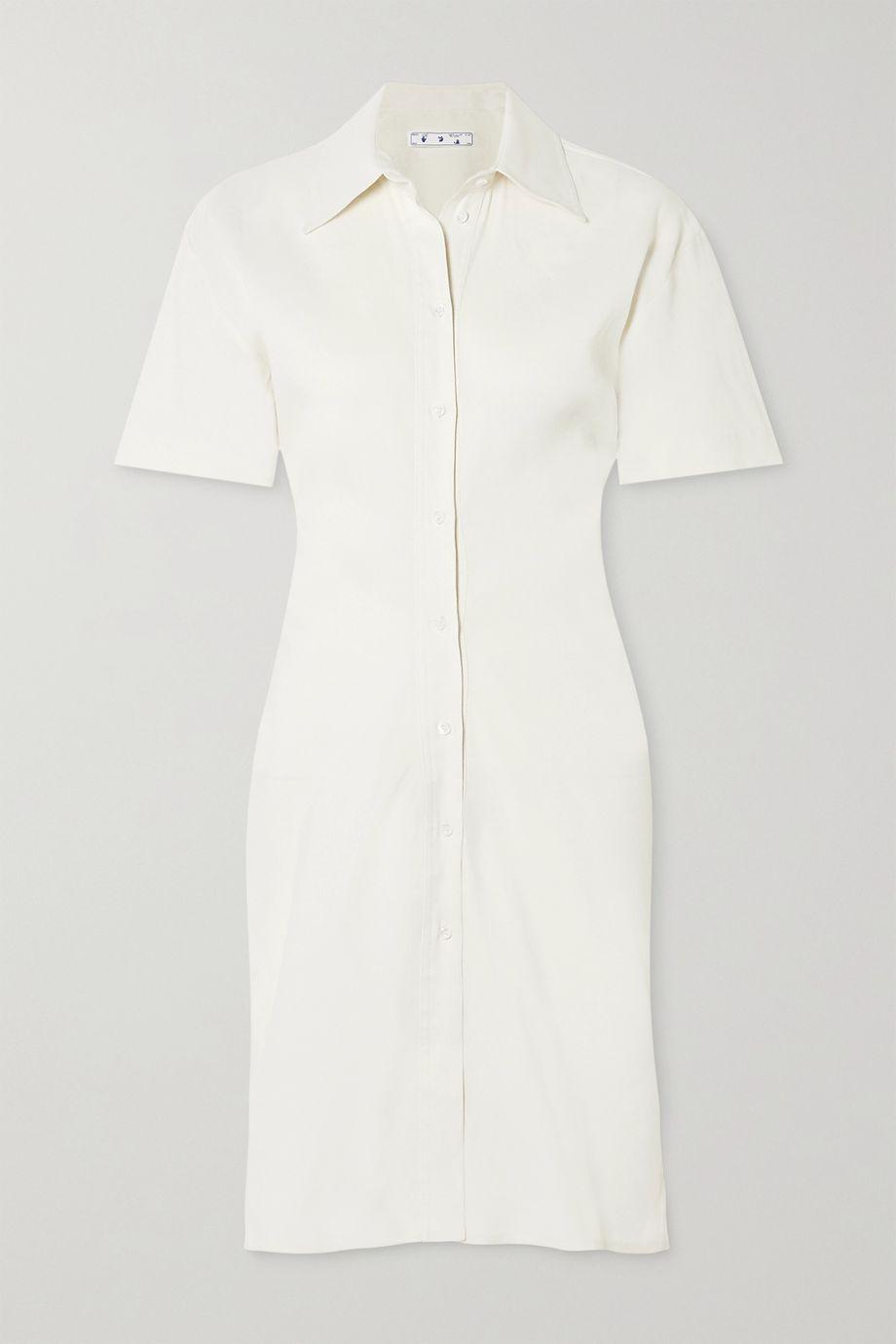 Off-White 亚麻混纺斜纹布迷你衬衫式连衣裙