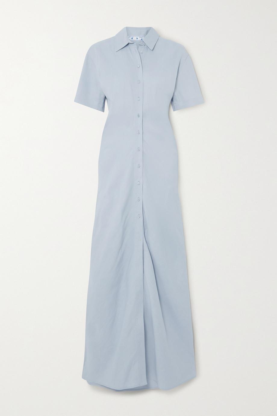 Off-White Ruched linen-blend maxi shirt dress