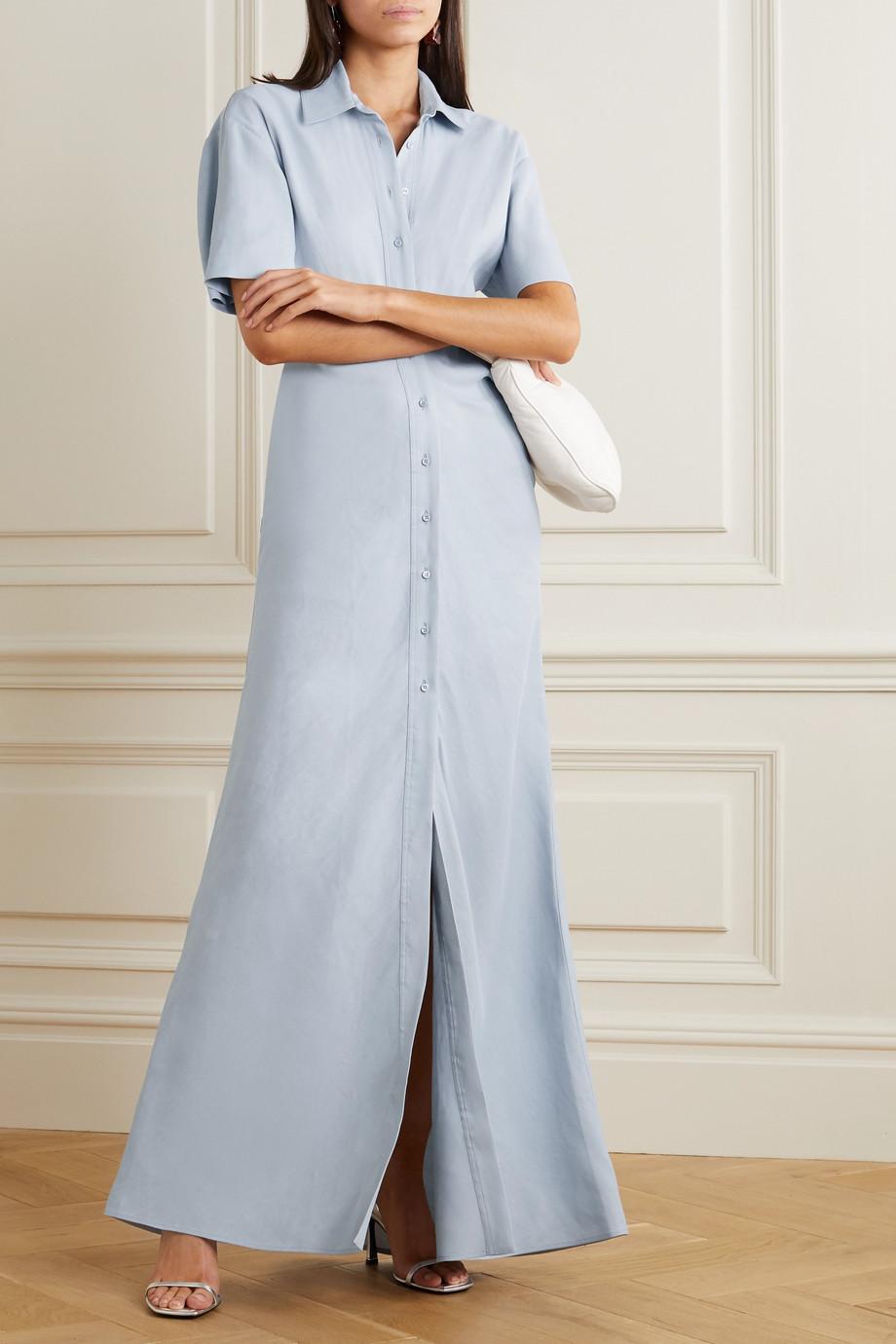 Off-White 褶饰亚麻混纺超长衬衫式连衣裙