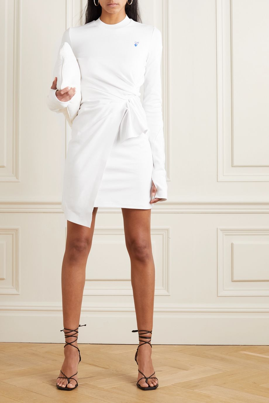 Off-White Mariacarla gathered embroidered cotton-jersey mini dress
