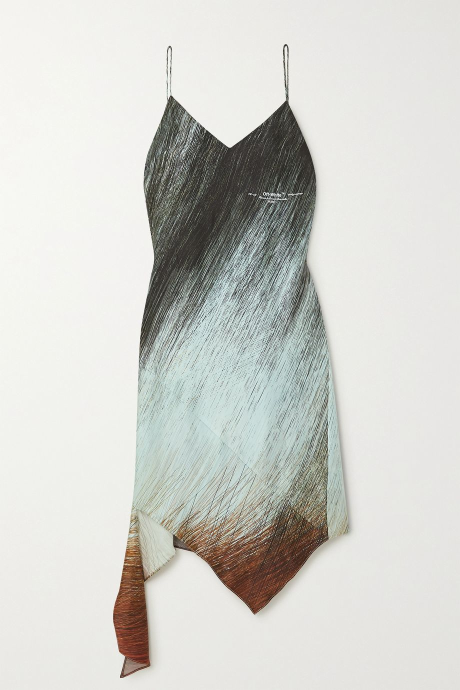 Off-White Bouroullec asymmetric printed satin dress