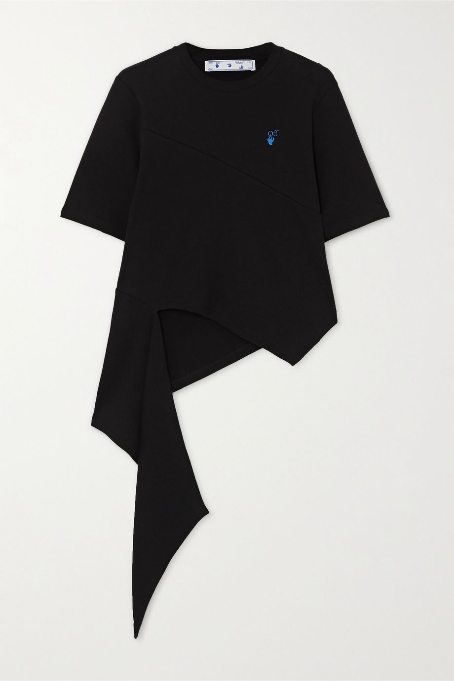Off-White Asymmetric embroidered cotton-jersey T-shirt