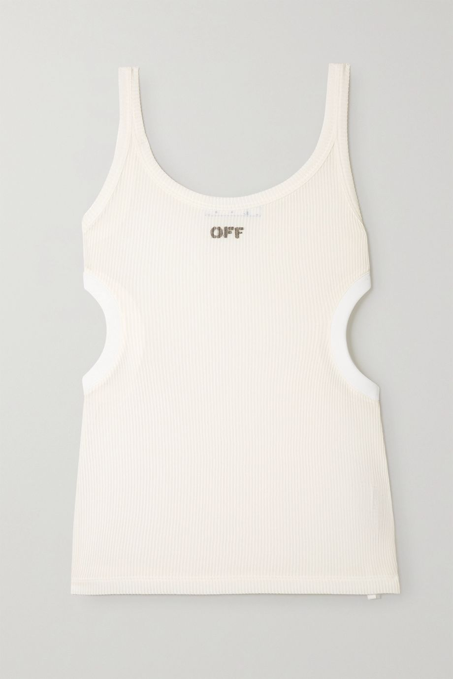 Off-White Cutout printed ribbed jersey tank