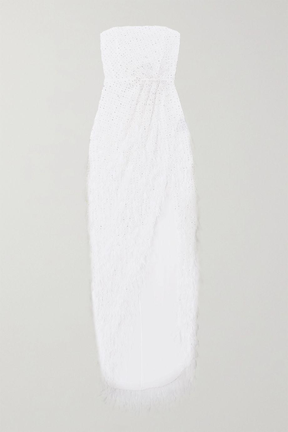 Ralph & Russo Trägerlose Robe aus besticktem Tüll mit Federn und Verzierungen