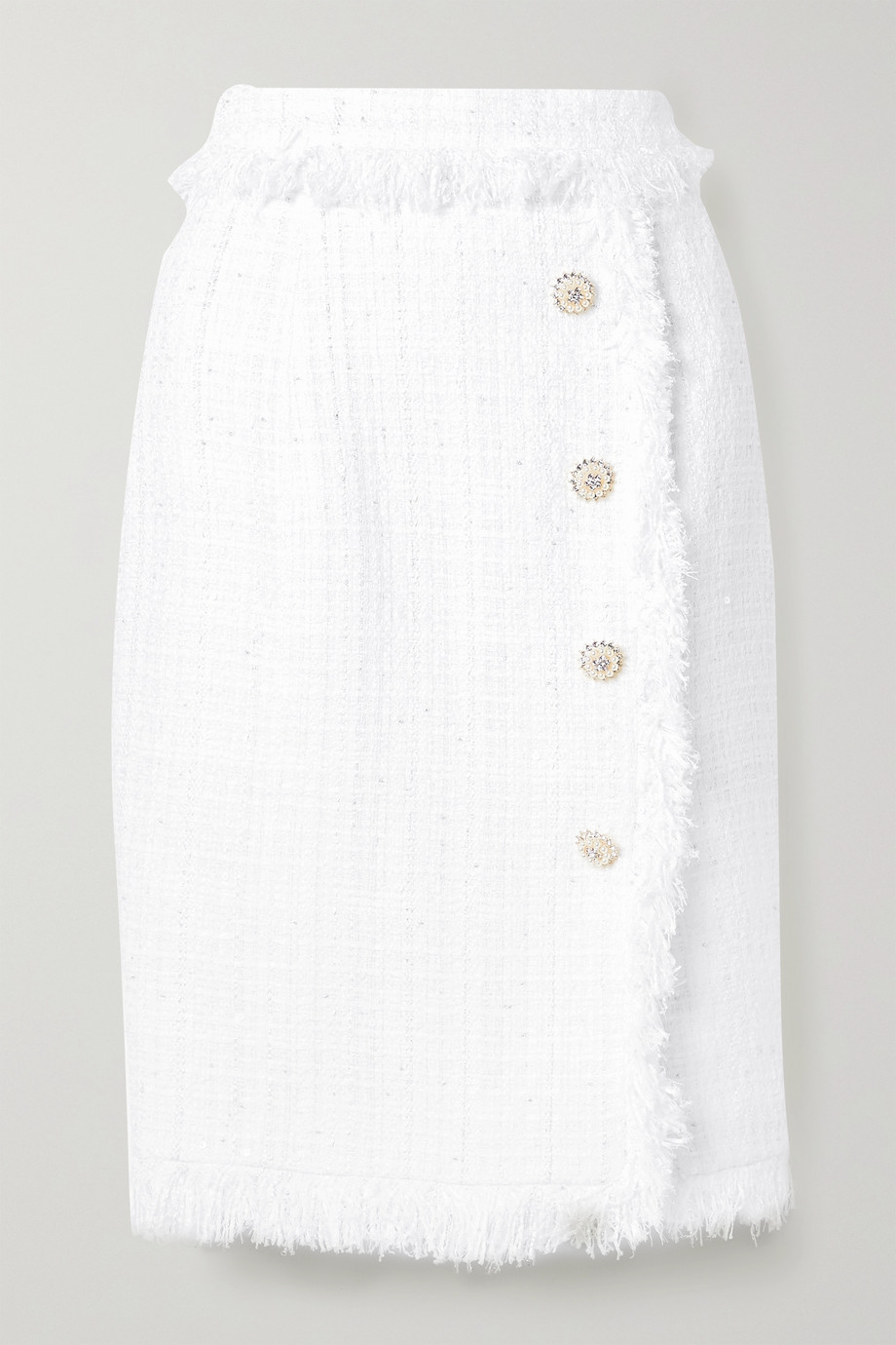 Ralph & Russo Fringed embellished metallic tweed skirt