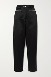 Zip-detailed satin tapered pants