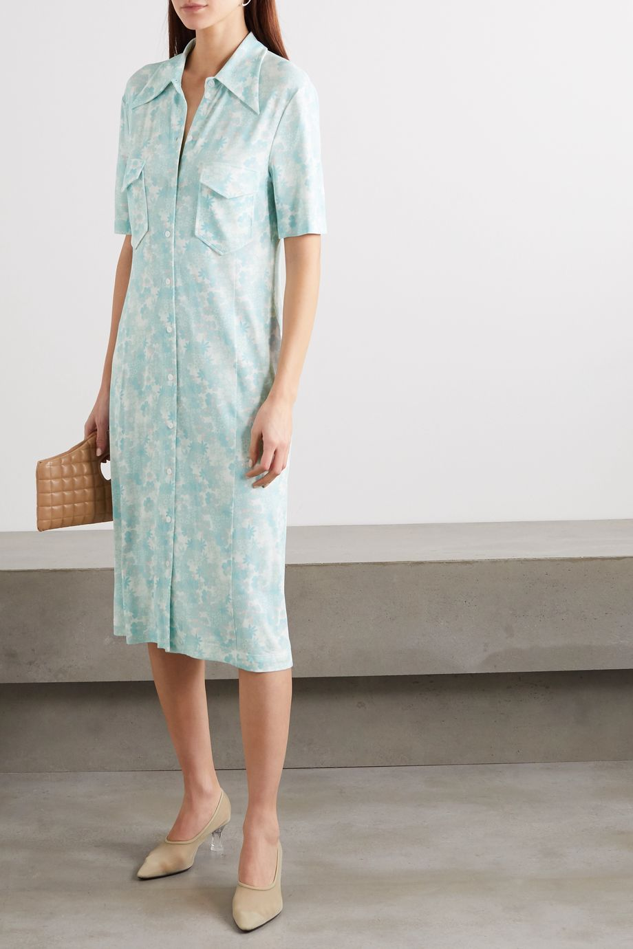 Kwaidan Editions Floral-print stretch-jersey midi shirt dress