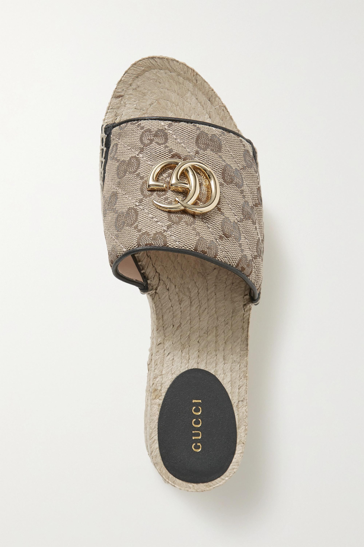 Gucci Pilar logo-embellished leather-trimmed quilted logo-print canvas slides