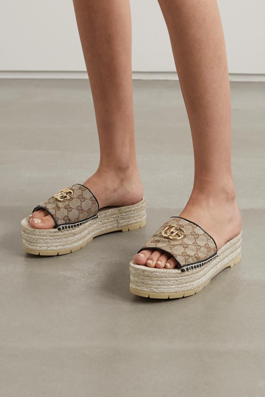 Gucci Pilar 品牌标志缀饰皮革边饰印花绗缝帆布拖鞋