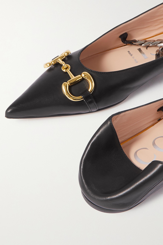 Gucci Deva 带缀饰皮革折叠式后跟尖头平底鞋