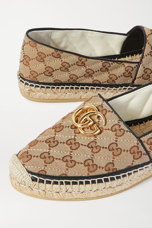 Gucci Pilar leather-trimmed embellished logo-detailed canvas espadrilles