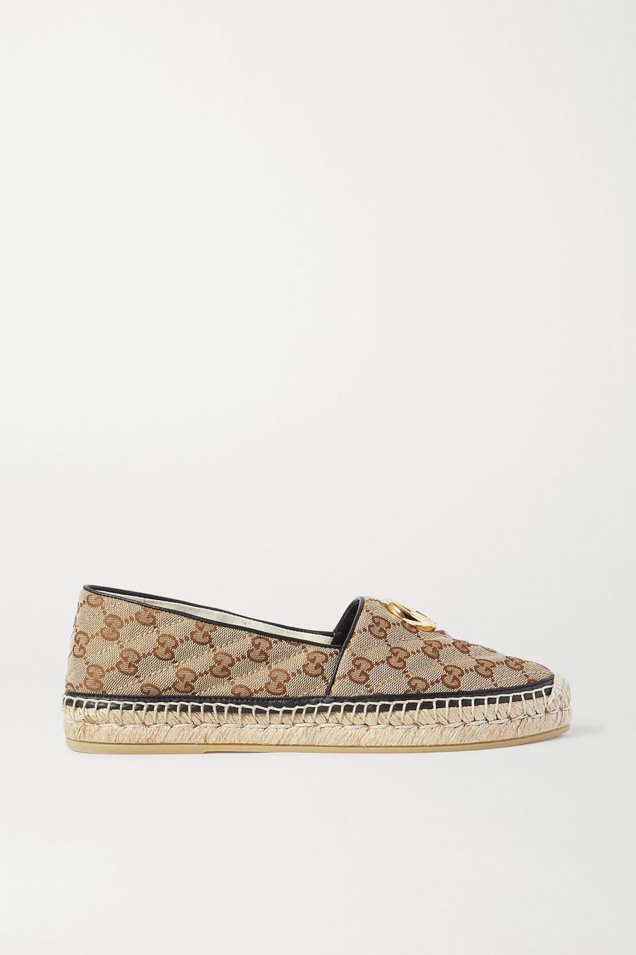 Gucci Pilar leather-trimmed embellished logo-detailed canvas espadrilles