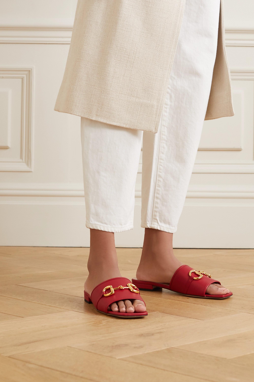 Red Deva horsebit-detailed leather