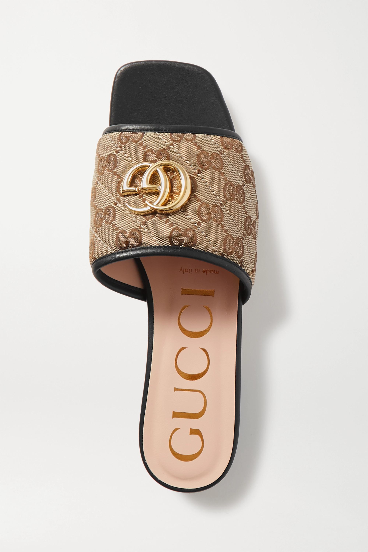 Gucci Jolie leather-trimmed embellished logo-detailed canvas slides