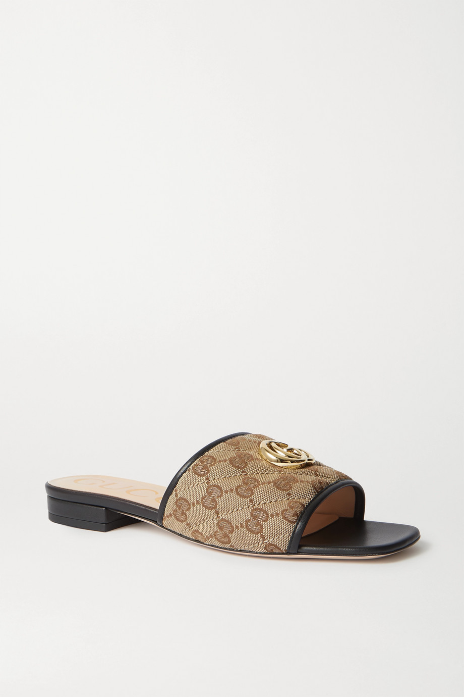 Gucci Jolie leather-trimmed embellished logo-detailed canvas slides