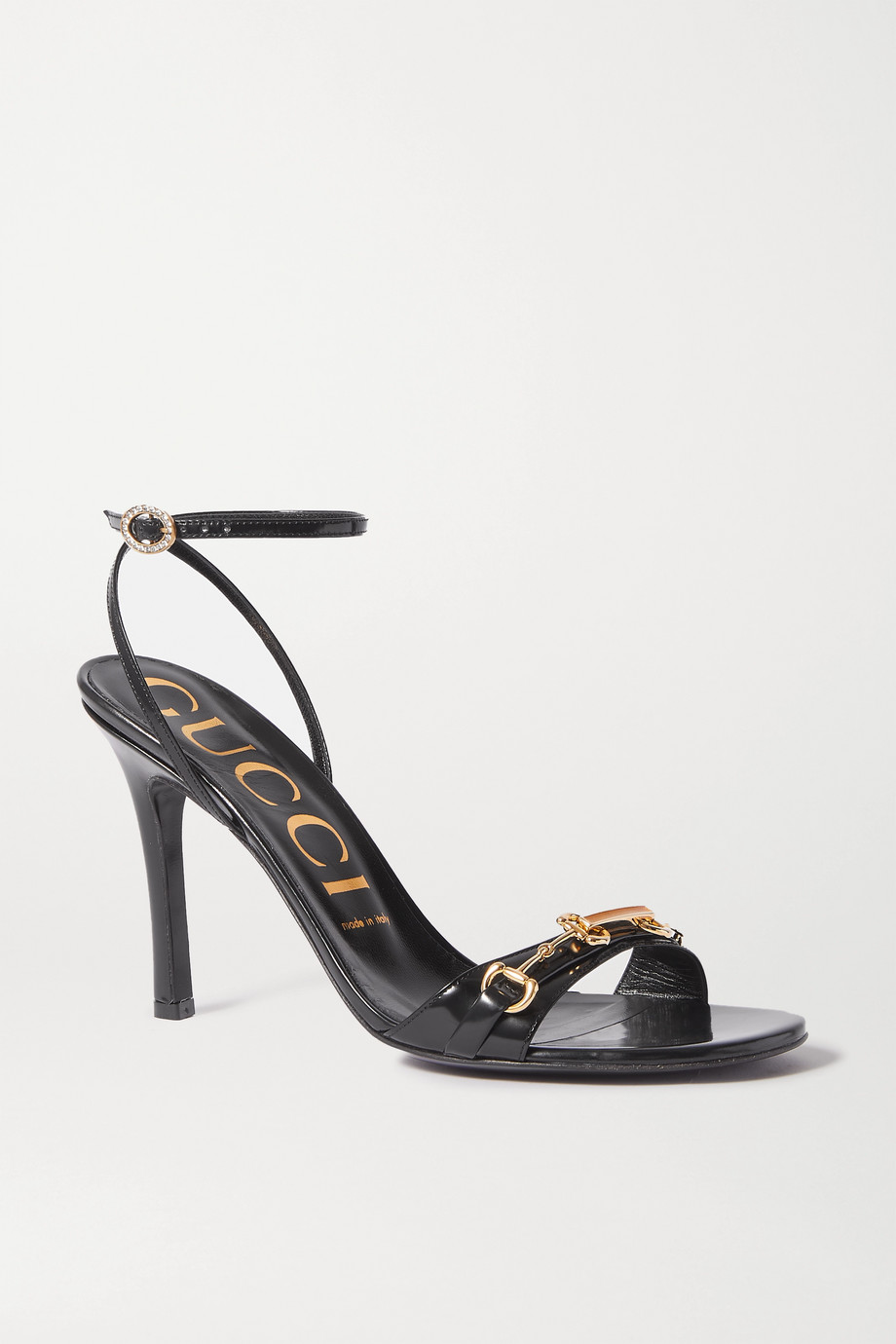 Gucci Moorea horsebit-detailed patent-leather sandals