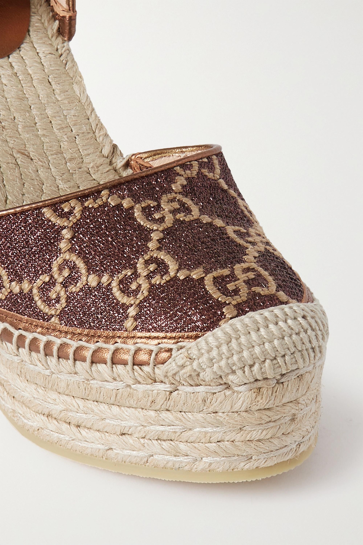 Gucci Pilar glittered canvas-jacquard wedge espadrilles