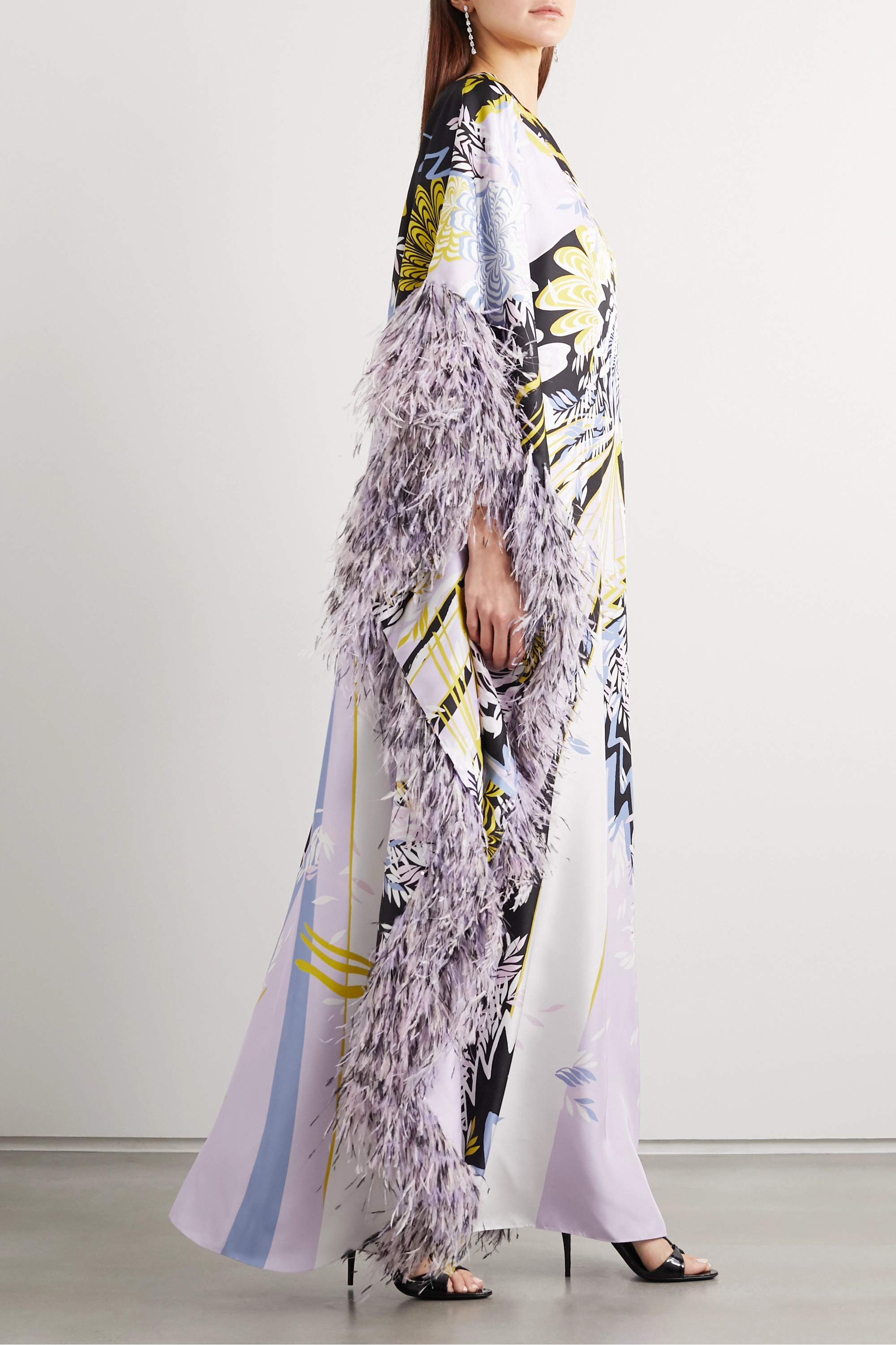 Ralph & Russo Sequin-embellished feather-trimmed printed silk-satin gown