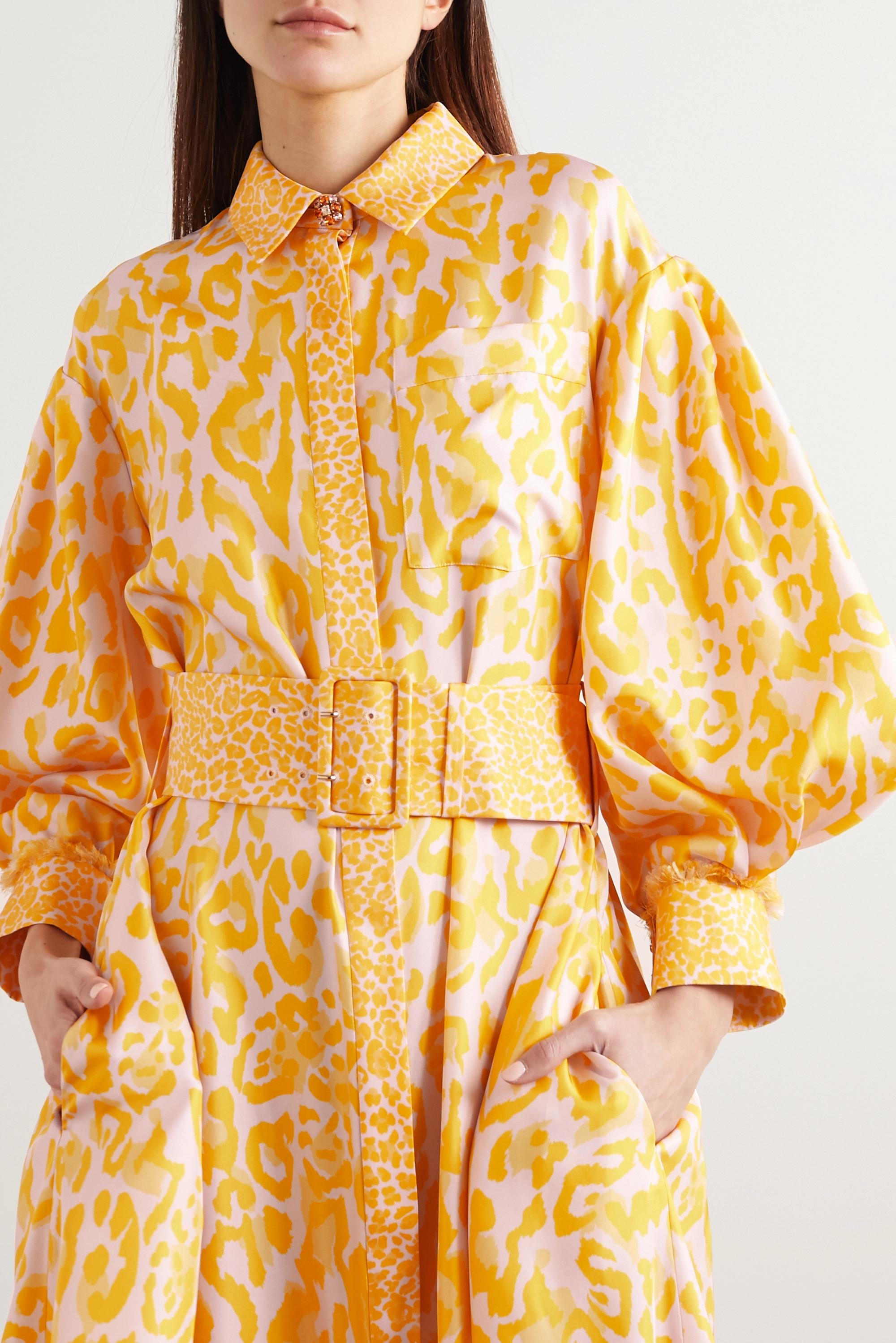 Ralph & Russo Belted frayed leopard-print silk-twill maxi shirt dress