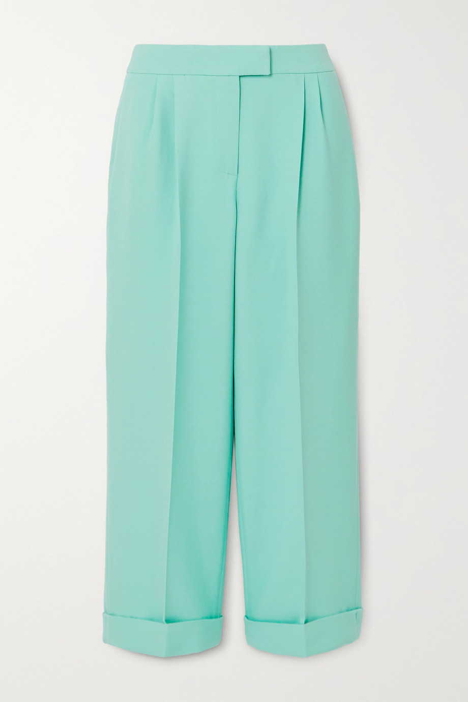 Ralph & Russo Cropped pleated cotton-blend crepe wide-leg pants