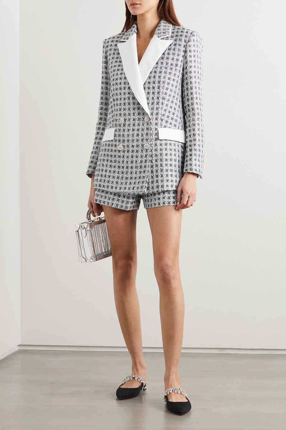 Ralph & Russo Metallic tweed shorts