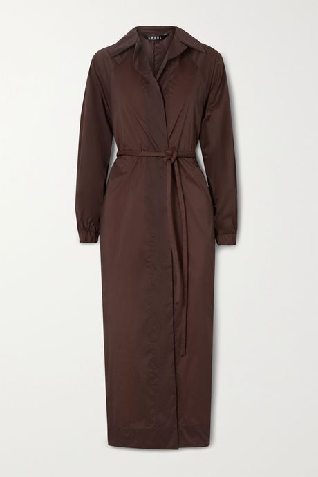 Burgundy Belted oversized shell trench coat | Kassl Editions lse7Di