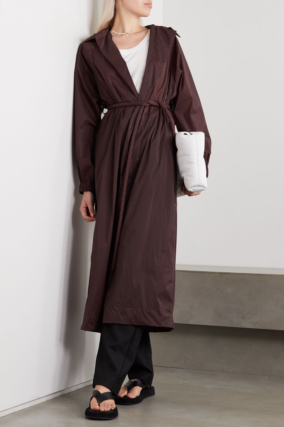 Kassl Editions Belted oversized shell trench coat