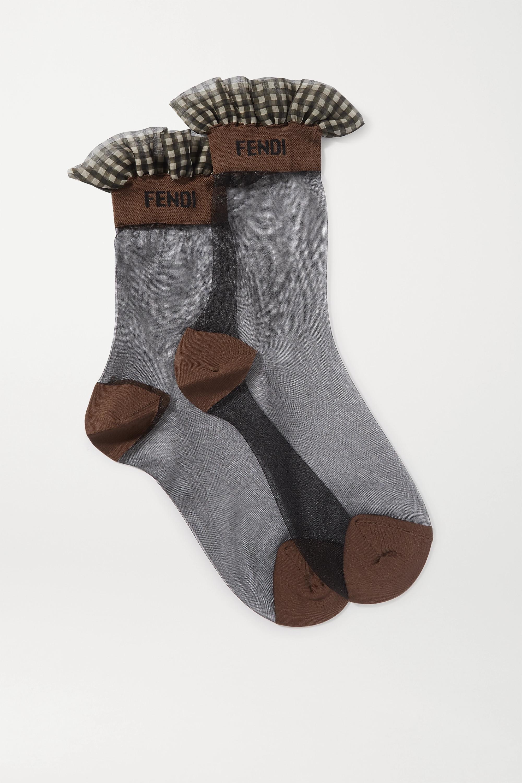Fendi Ruffled gingham-trimmed stretch-tulle socks