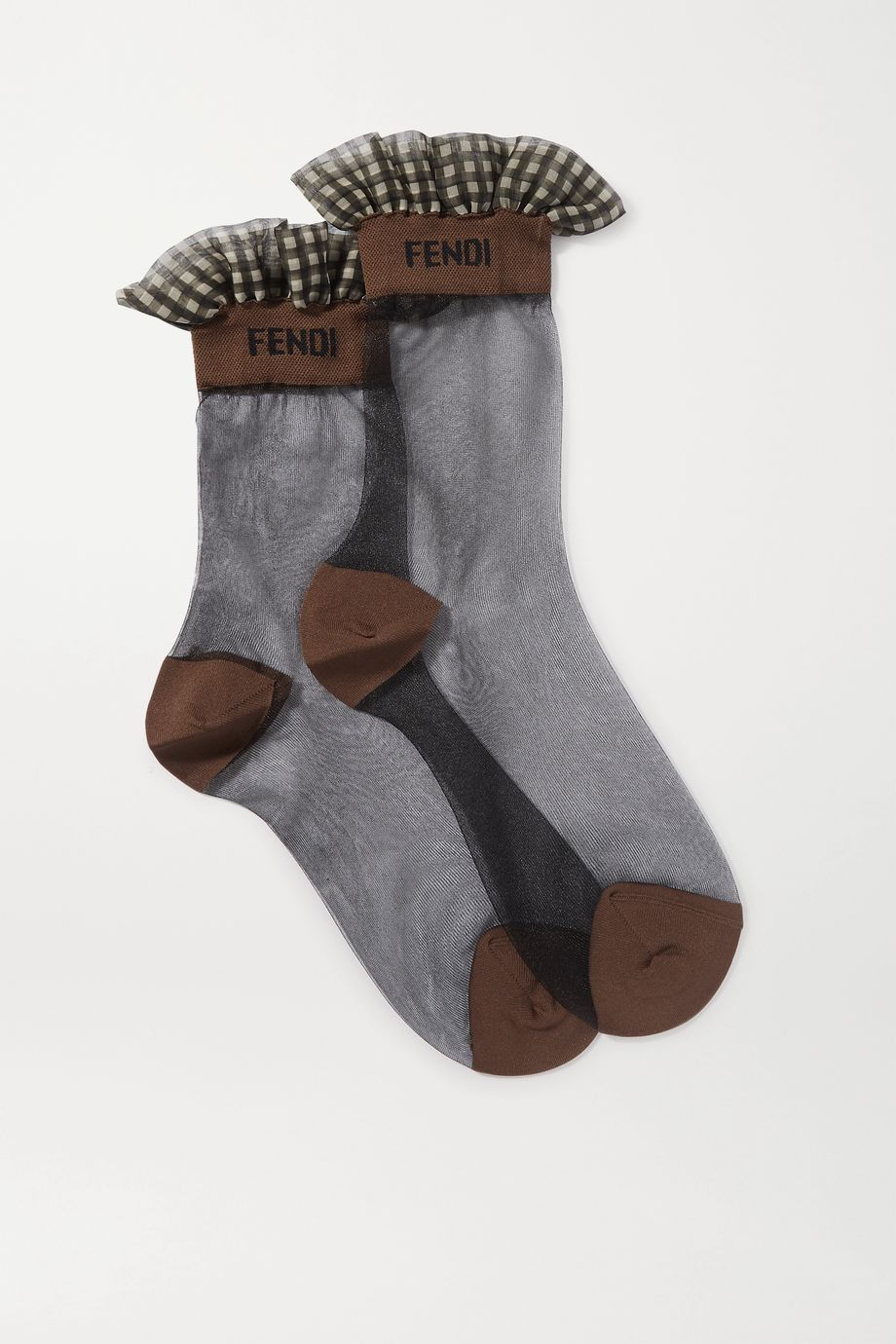 Fendi Ruffled gingham-trimmed stretch-tulle socks