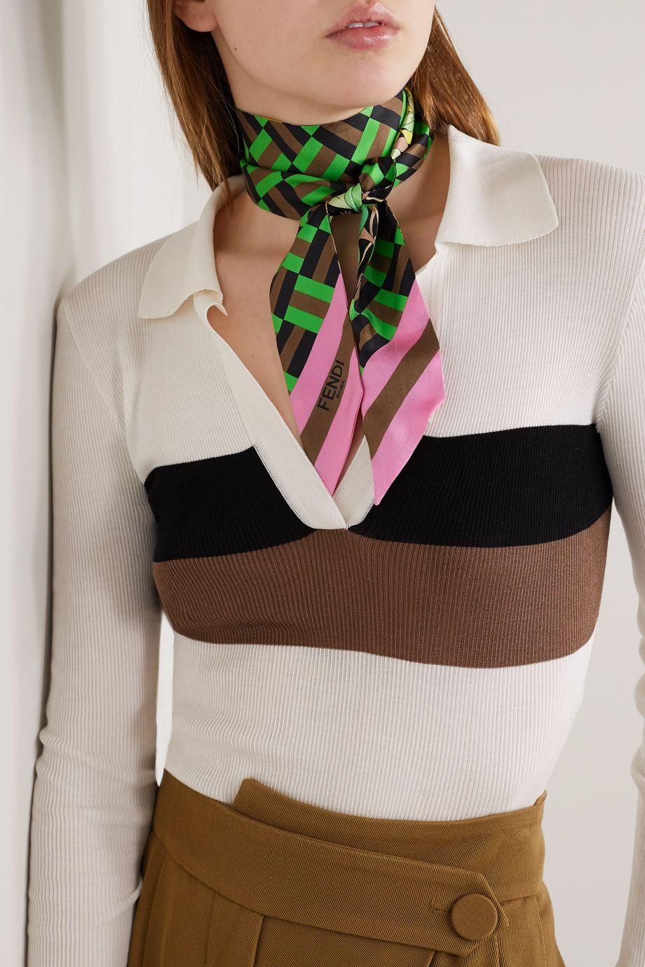 Fendi Wrappy printed silk-twill scarf