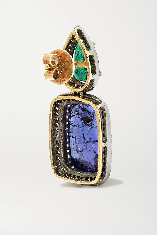 Amrapali Ohrringe aus 18 Karat Gold mit Sterlingsilberauflage und mehreren Steinen