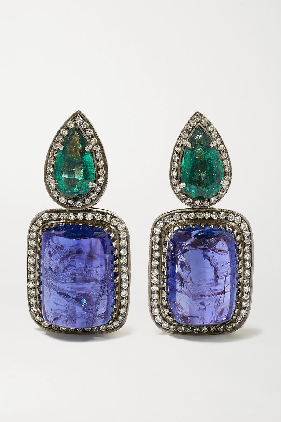 Amrapali Boucles d'oreilles en or 18 carats plaqué argent sterling et pierres multiples