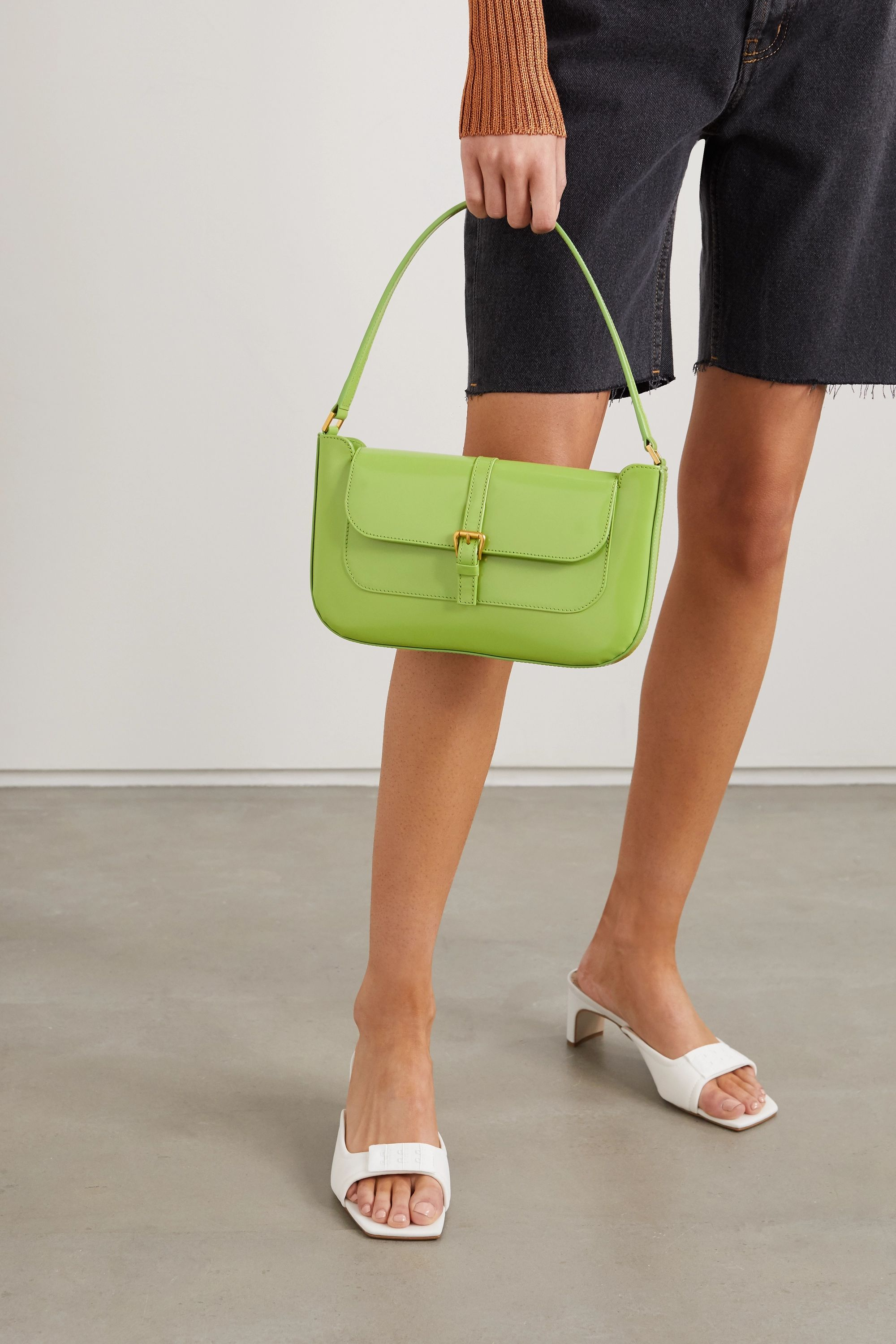 BY FAR Miranda patent-leather shoulder bag