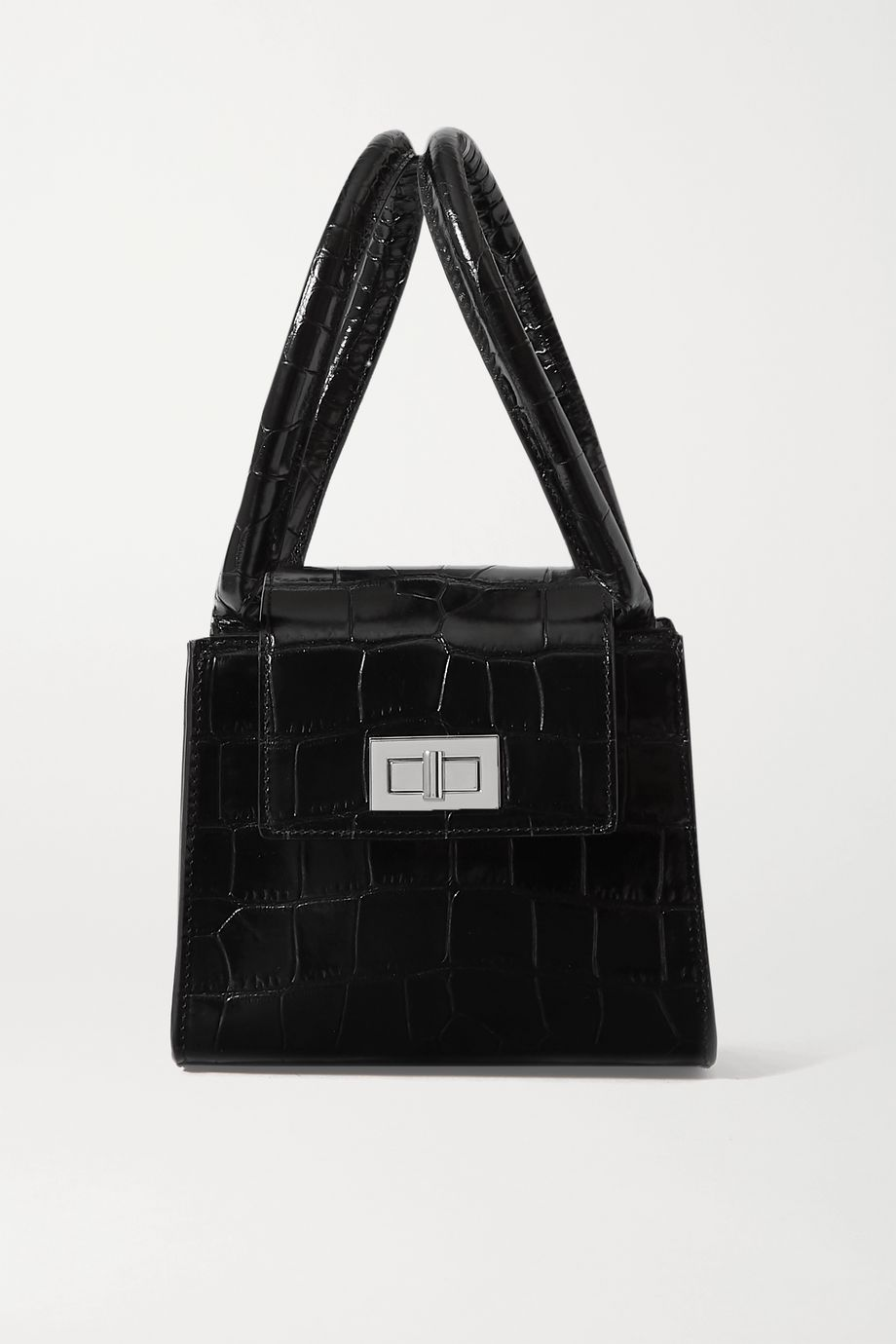 BY FAR Sabrina small croc-effect leather tote
