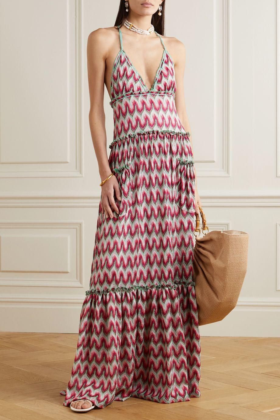 Missoni Tiered metallic crochet-knit halterneck maxi dress