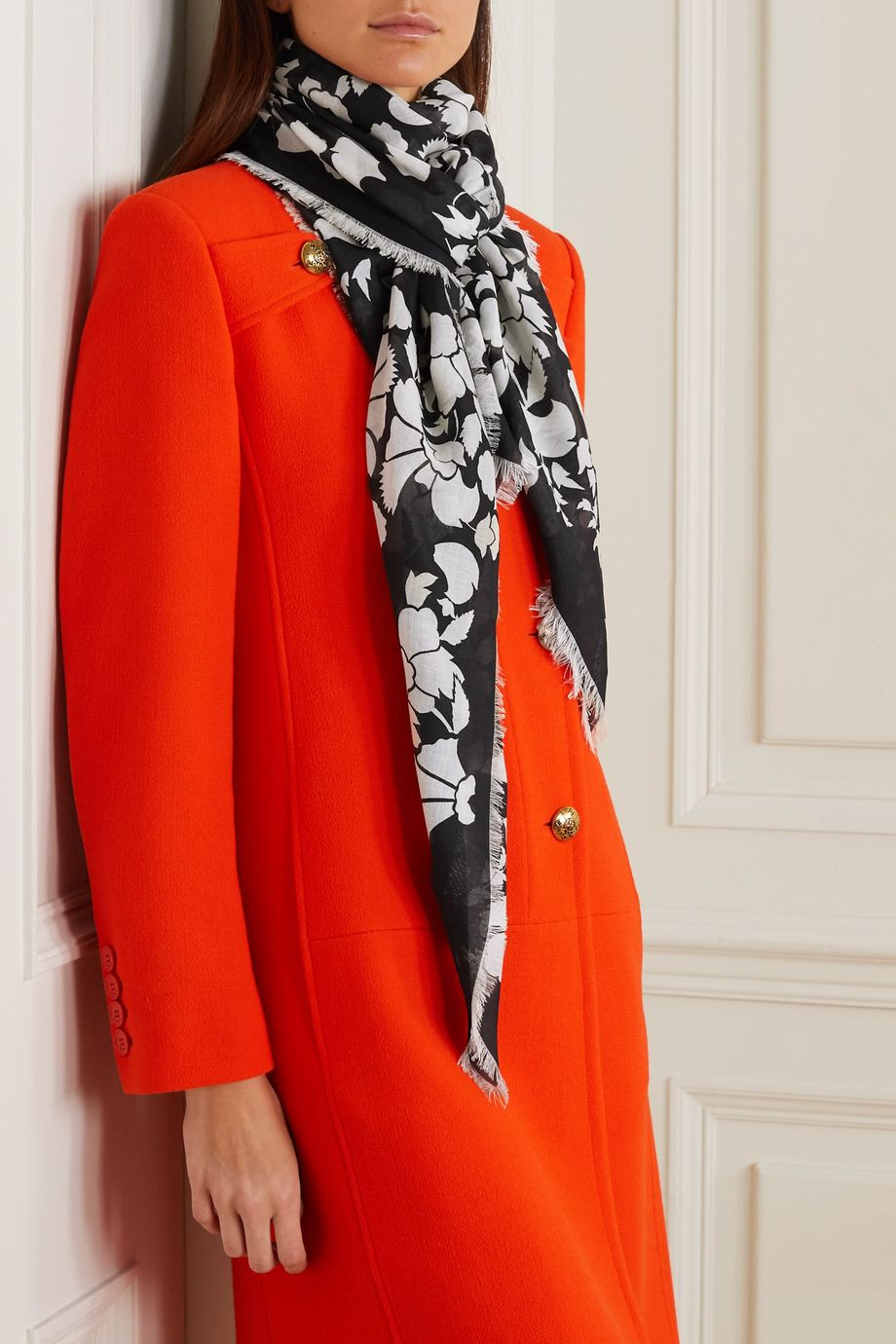 Givenchy Fringed printed cashmere and silk-blend scarf