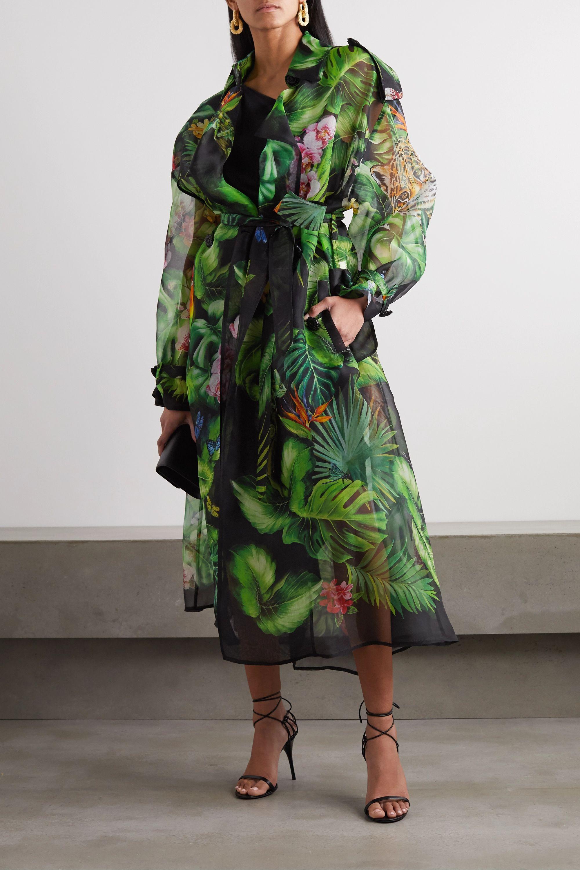 Dolce & Gabbana Oversized-Trenchcoat aus bedrucktem Seidenorganza