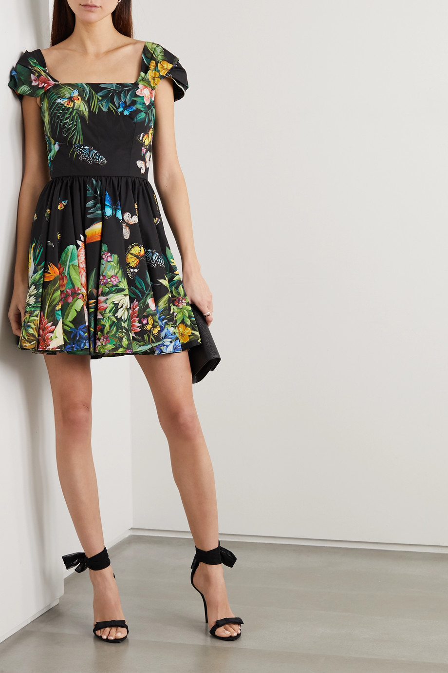 Dolce & Gabbana Pleated printed cotton-poplin mini dress