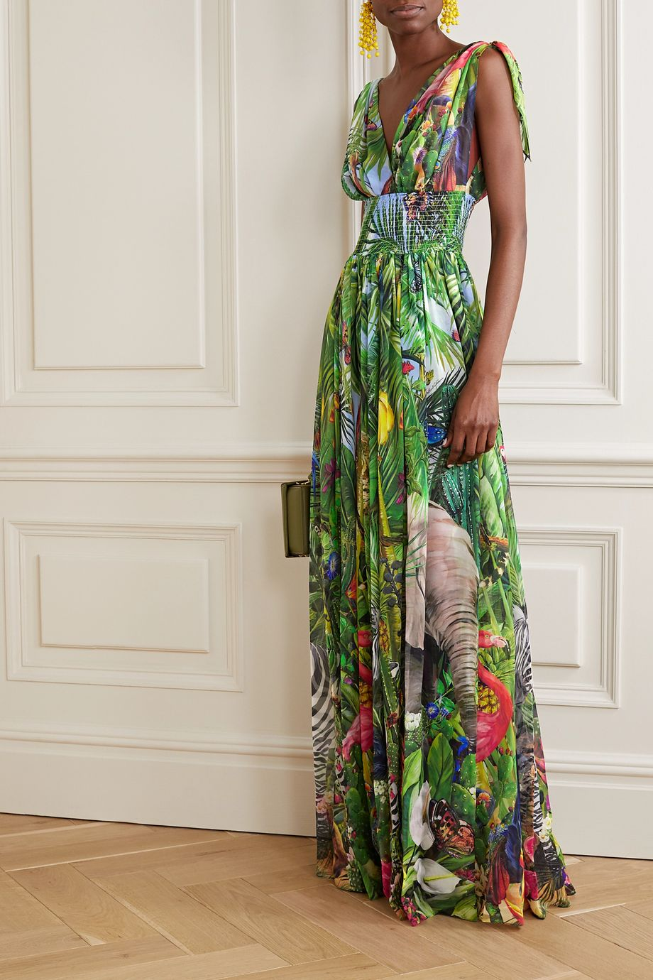 Dolce & Gabbana Smocked printed silk-georgette gown