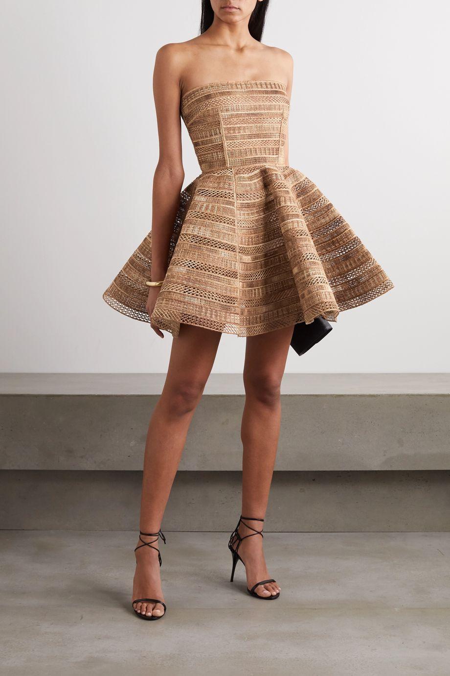 Dolce & Gabbana Strapless woven raffia mini dress