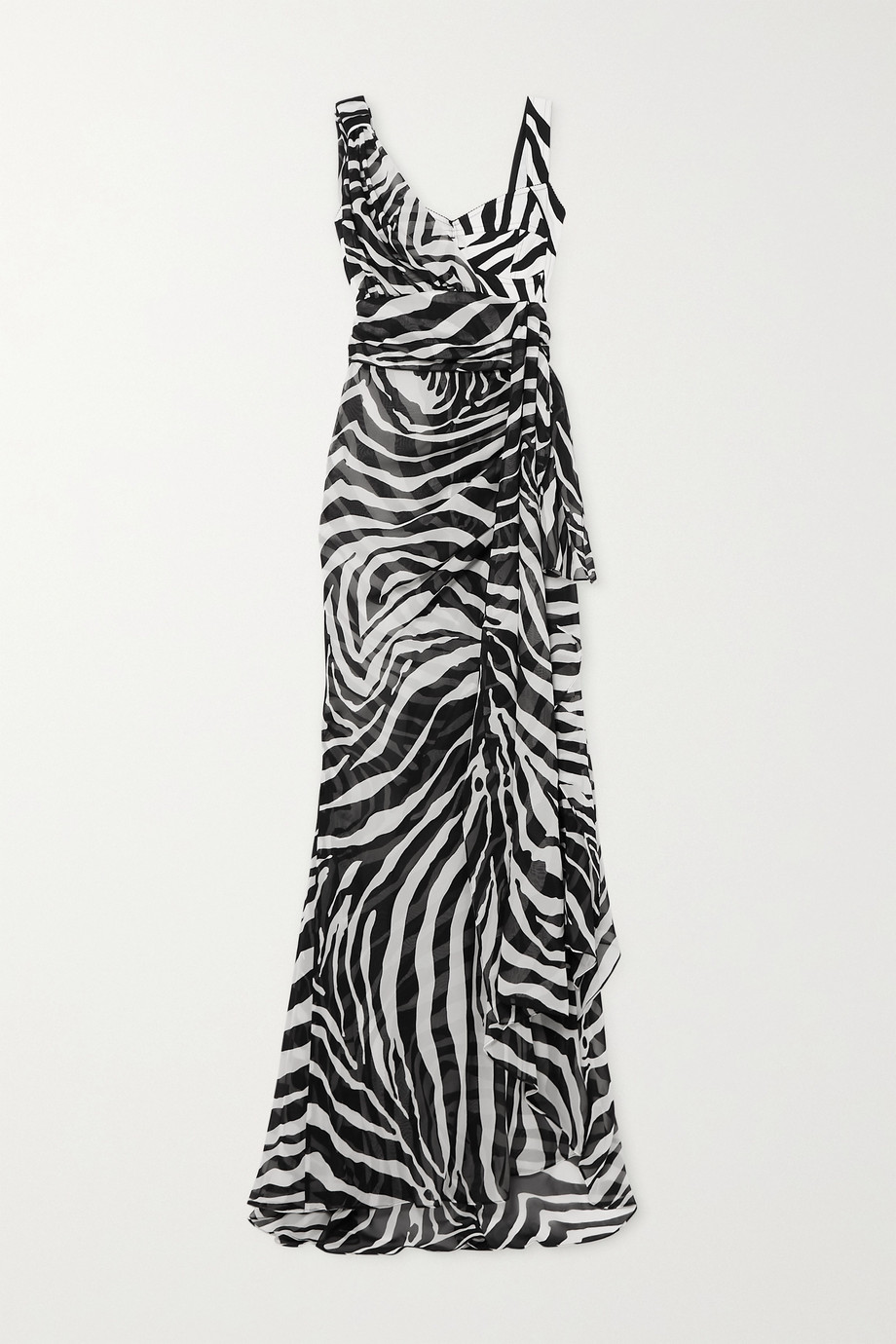 Dolce & Gabbana Draped zebra-print silk-blend georgette gown