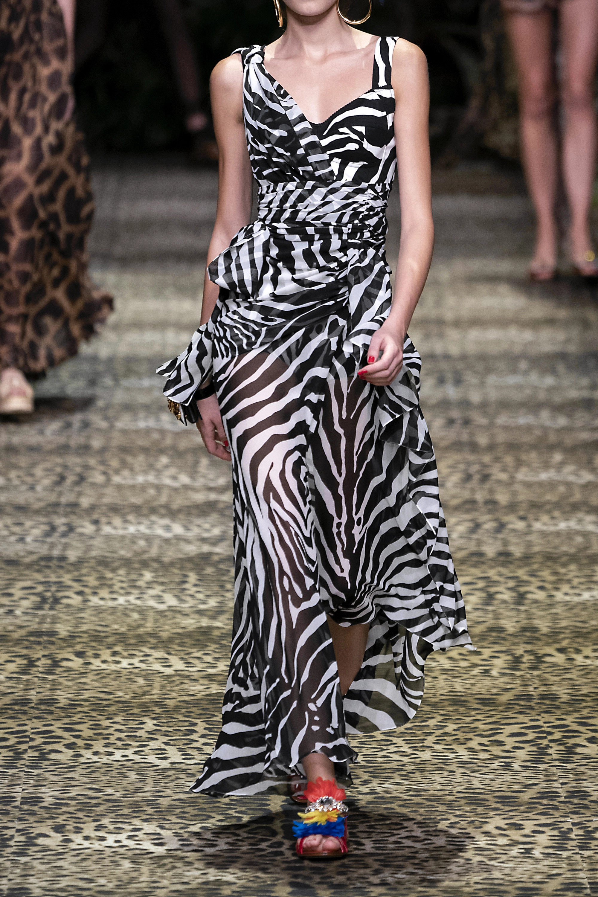 White Draped Zebra-print Silk-blend Georgette Gown | Dolce & Gabbana