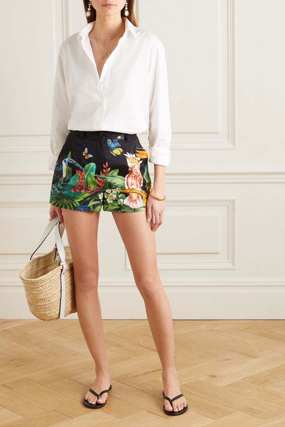 Dolce & Gabbana Printed stretch-cotton poplin shorts
