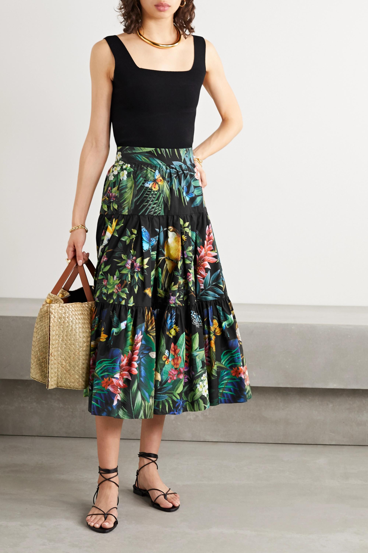 Dolce & Gabbana Tiered printed cotton-poplin midi skirt