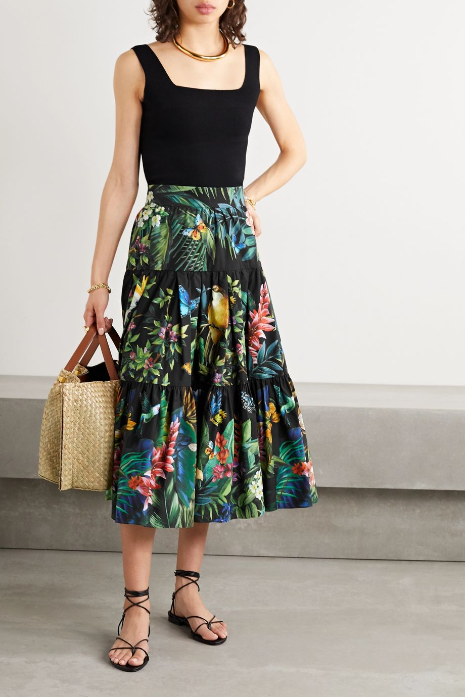 Dolce & Gabbana Gestufter Midirock aus bedruckter Baumwollpopeline