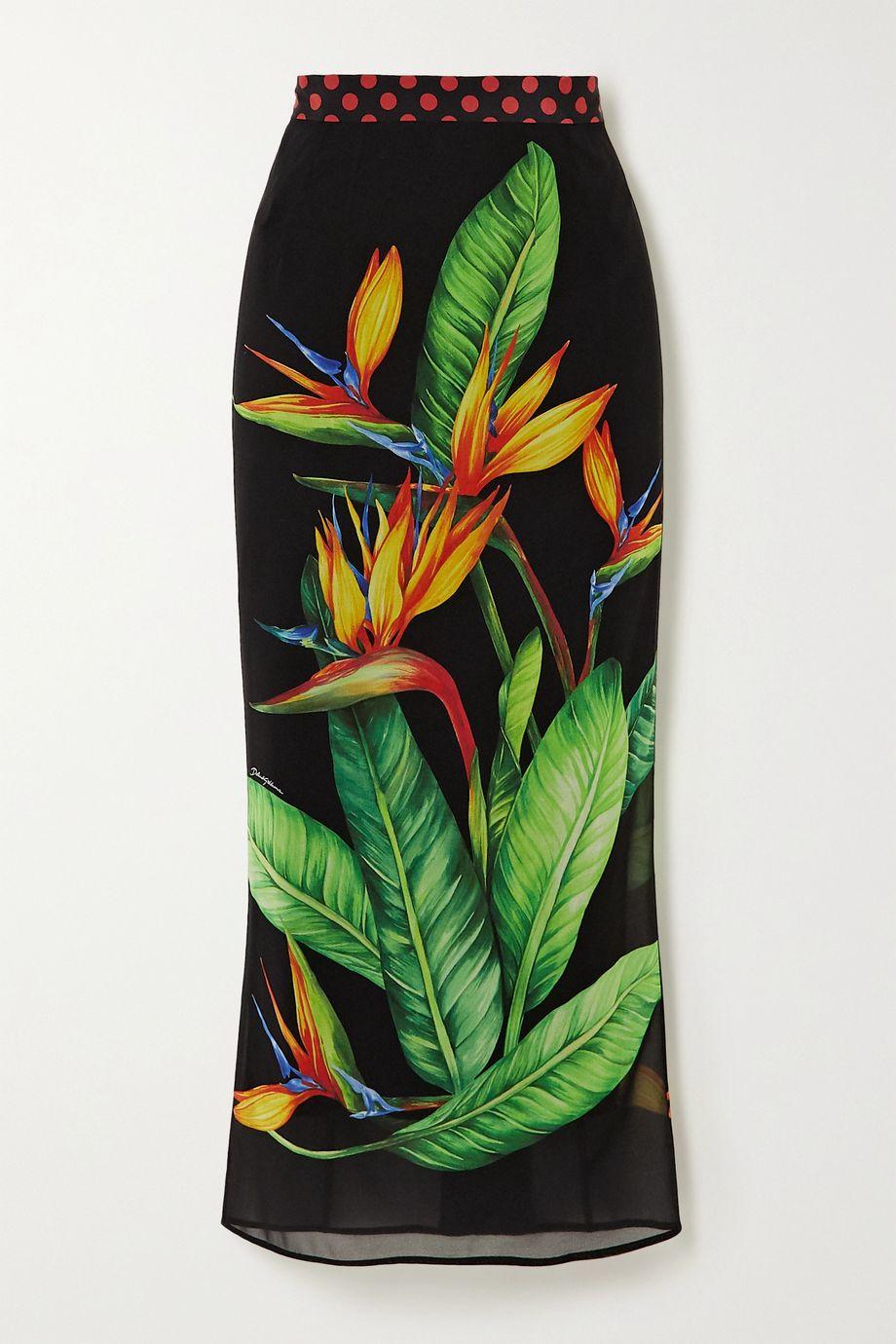 Dolce & Gabbana Printed stretch-silk crepe de chine midi skirt