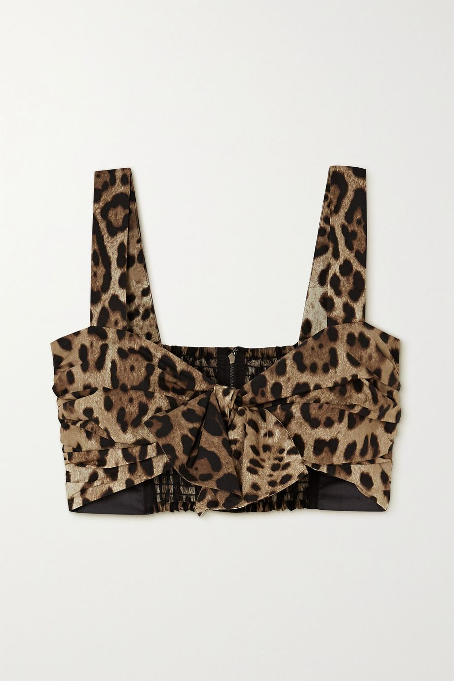 Dolce & Gabbana Knotted leopard-print cotton bustier top